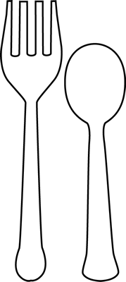 Black And White Fork And Spoon Clip Art   Black And White Fork And