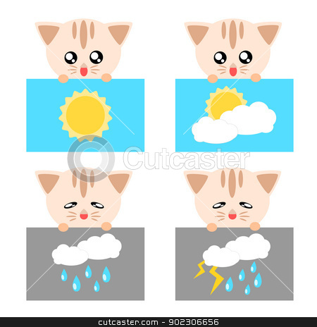 Cat Weather Icon Illustration Stock Vector Clipart Paper Weather Icon