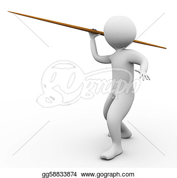 Clip Art   3d Man Throwing Javelin On The White Background  Stock