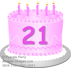 Clip Art Image Of A Pink Birthday Cake With The Number 21