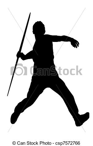 Clip Art Vector Of Male Javelin Thrower   Isolated Image Of A Male