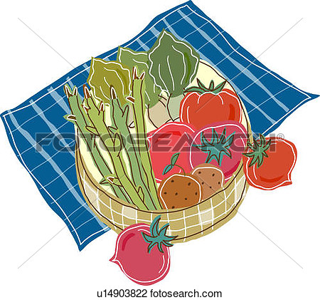 Clip Art   Vegetable Basket  Fotosearch   Search Clipart Illustration