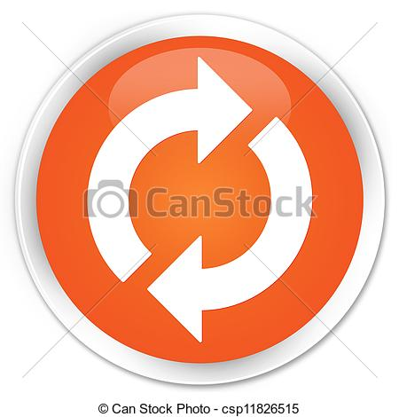 Clipart Of Update Icon Orange Button   Update Icon Glossy Orange Round