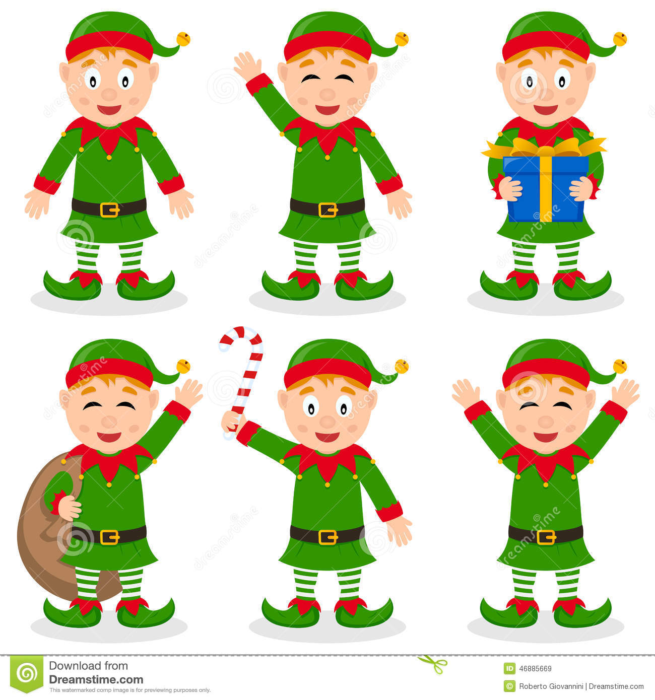 Collection Of Six Funny Cartoon Christmas Elves Character In Different