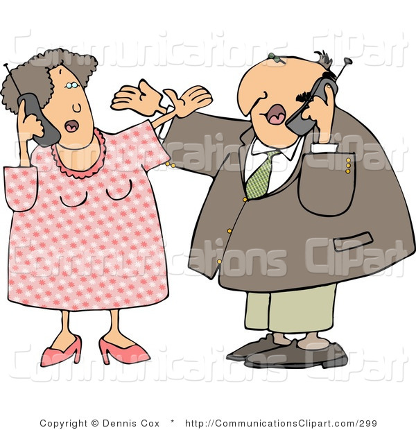 Communication Clipart Of A Caucasian Man And Woman Talking On