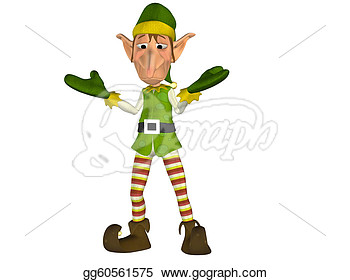 Drawing   Confused Christmas Elf  Clipart Drawing Gg60561575   Gograph