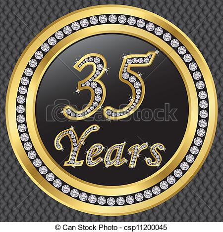 Eps Vector Of 35 Years Anniversary Happy Birthday Golden Icon With