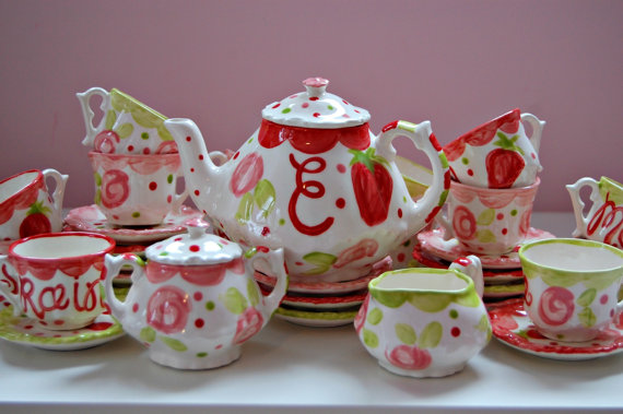 Flowers Pink And Red Tea Party Personalized Little Girl S Tea Set