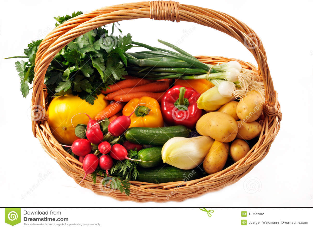 Fresh Vegetables In A Basket Isolated On White Background