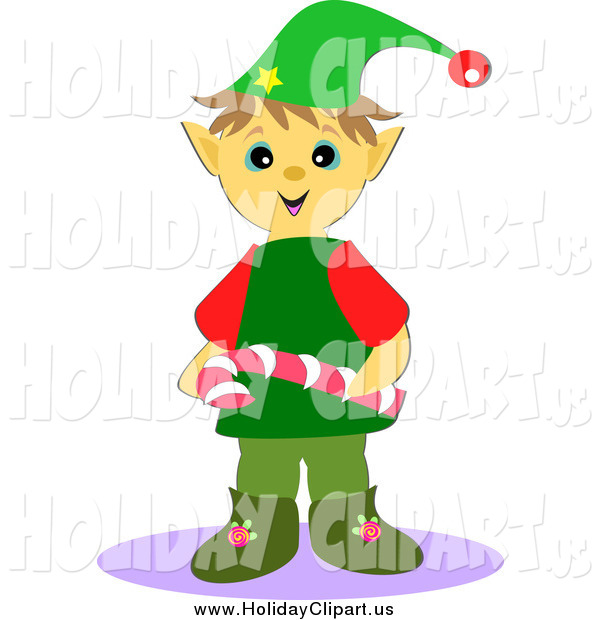 Holiday Clip Art Of A Christmas Elf Holding A Candy Cane By Bpearth