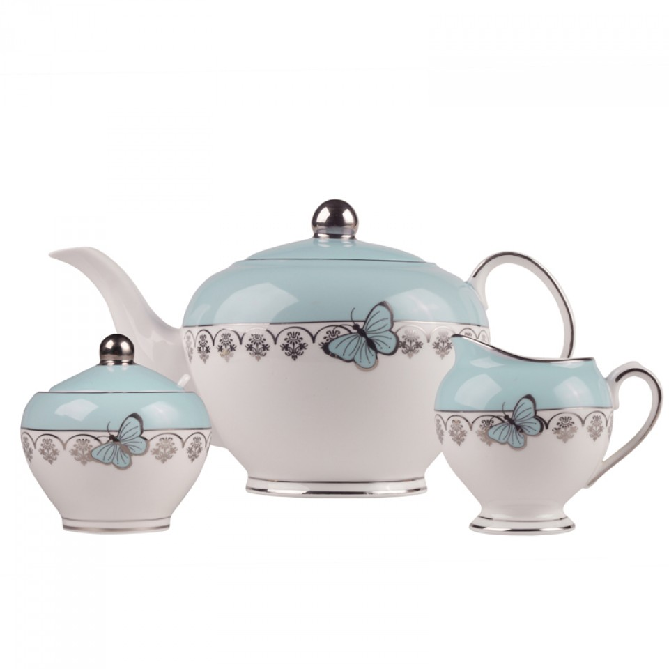 Home Vintage Butterfly Tea Set Mint And Silver