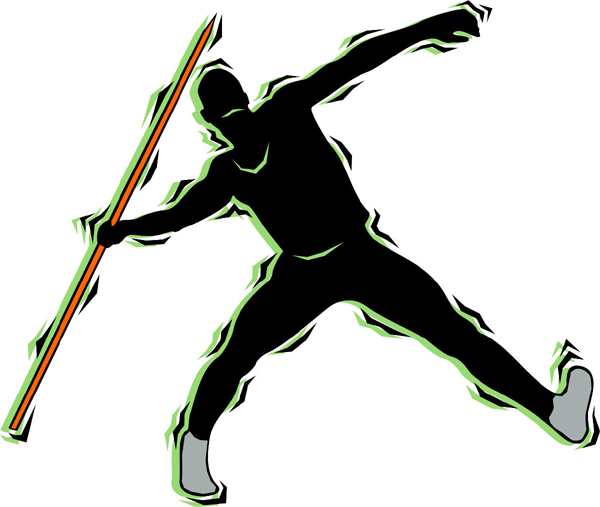 Javelin Thrower Color Action Sports Decal  Personalize As You Order