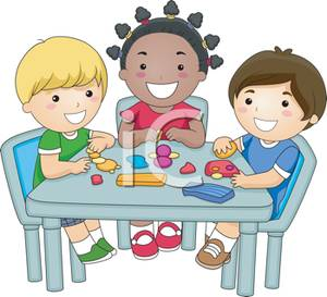 Kids Playing With Clay At Preschool Royalty Free Clipart Picture