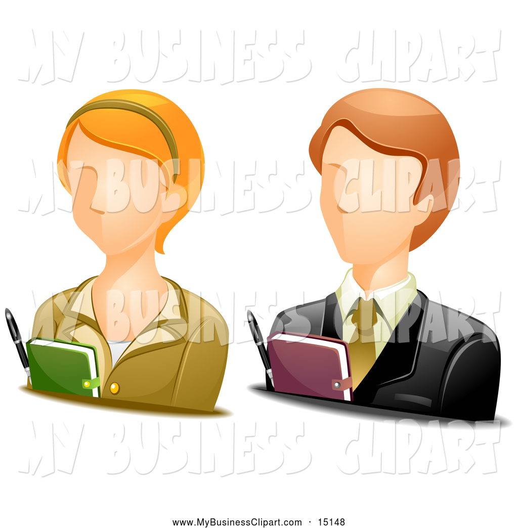 Larger Preview  Vector Clip Art Of Male And Female Secretary Avatars