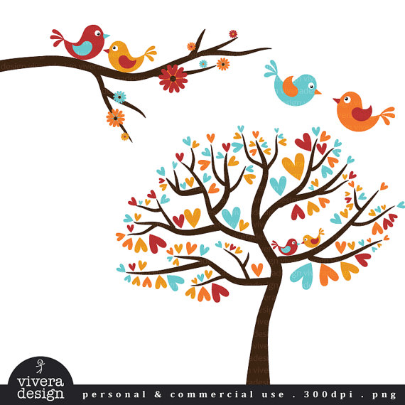 Love Birds In Autumn Colors   Vintage Fall   Digital Clip Art
