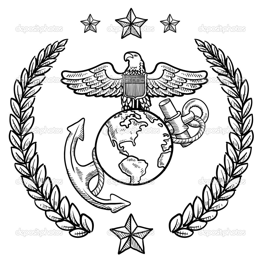 Adult Beauty Marines Coloring Pages Gallery Images best marines symbol colouring pages page 2 clipart kid images