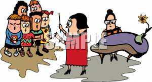 Of A Teacher Instructing A Choir   Royalty Free Clipart Picture