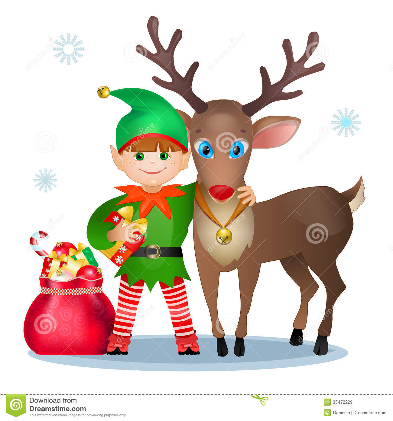 Royalty Free Stock Images  Funny Elf And Reindeer