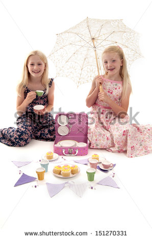 Summer Tea Party With Little Girls Child S Tea Set And Bunting