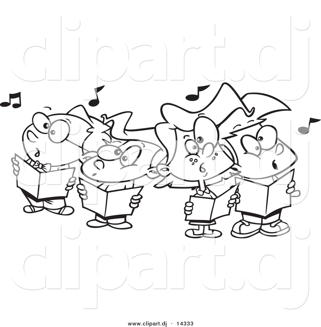Vector Of Cartoon Choir Kids Singing   Coloring Page Outline By Ron