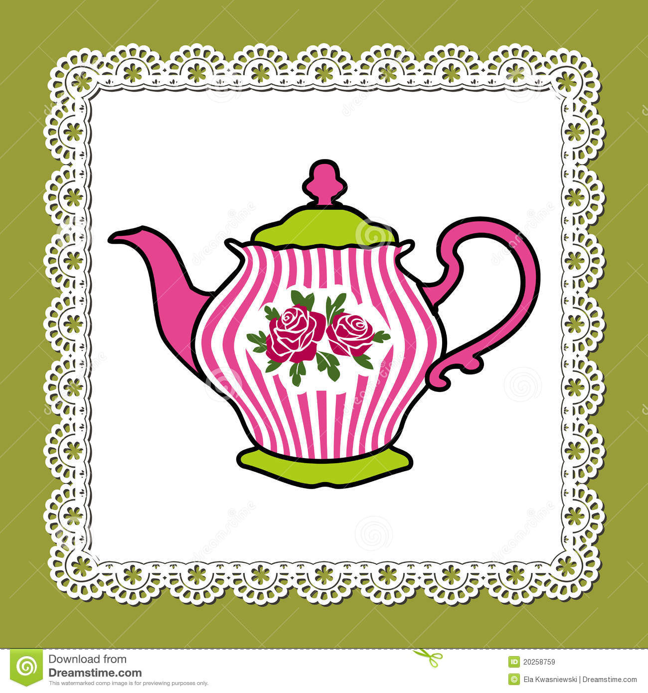 Abstract Illustration Of Pink Teapot With Roses On Lace Frame And