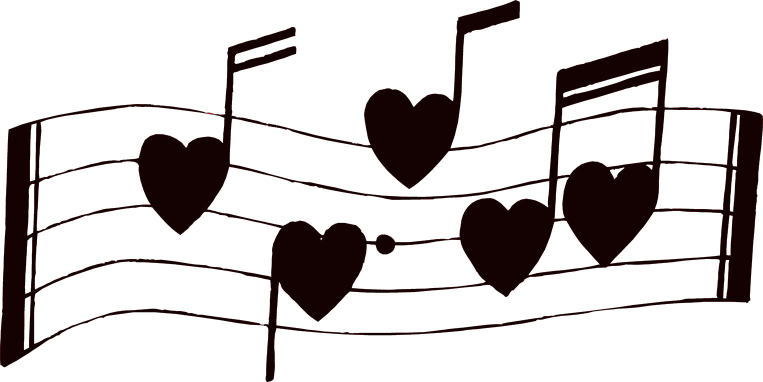 Artbyjean   Vintage Sheet Music  Musical Notes With Little Hearts