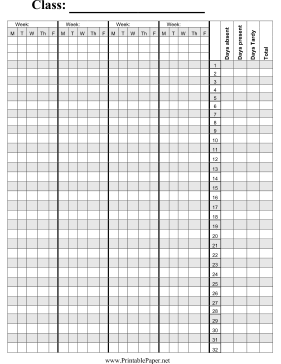 Printable Attendance Sheet For Teachers. Attendance Sheet Clipart ...