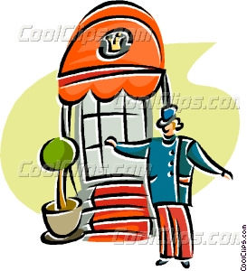 Bell Hop At The Entrance Of Vector Clip Art