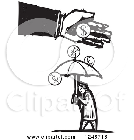 Black And White Woodcut Hand Dropping Currency Coins Over A