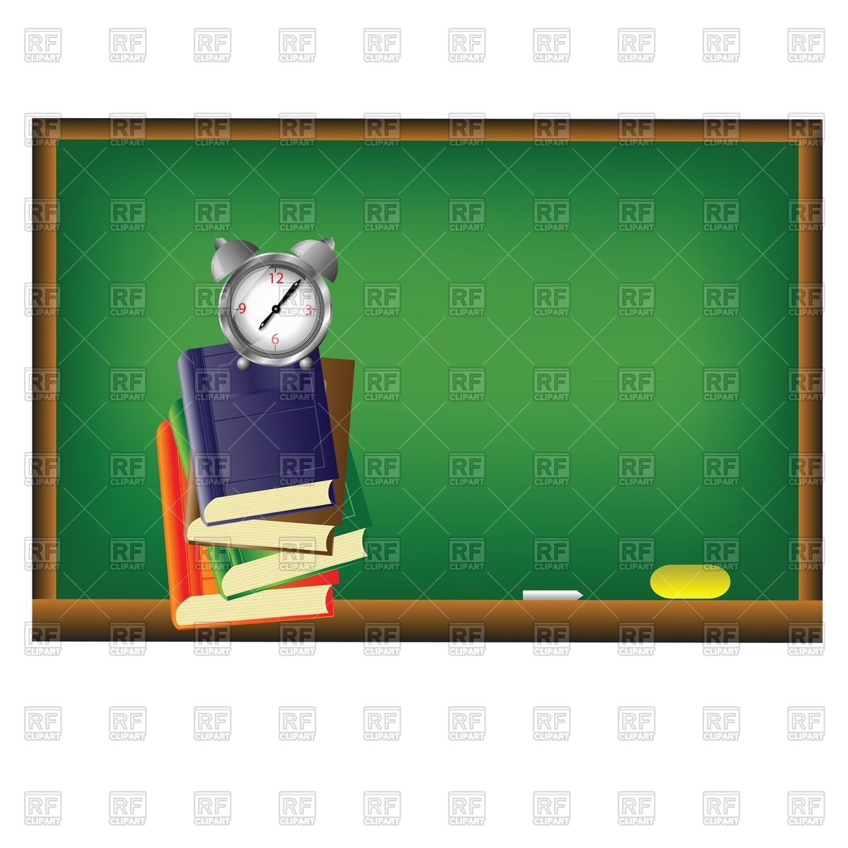 Blackboard And Books 54750 Download Royalty Free Vector Clipart