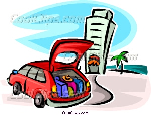 Car Full Of Luggage At A Hotel Vector Clip Art