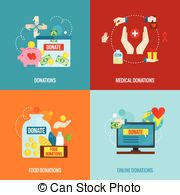 Charity Flat Set   Charity Design Concept Set With Food And