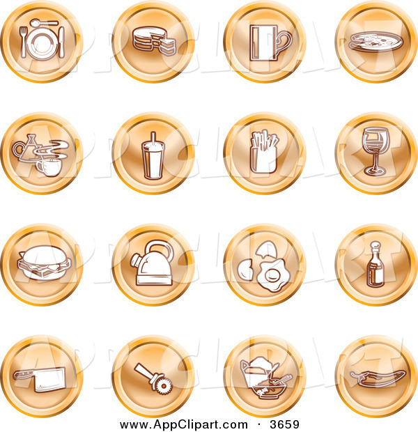 Clip Art Of A Collection Of 16 Orange Icons Of Food And Kitchen Items