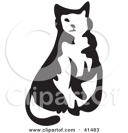 Clipart Illustration Of A Black And White Brush Stroke Sitting Cat By