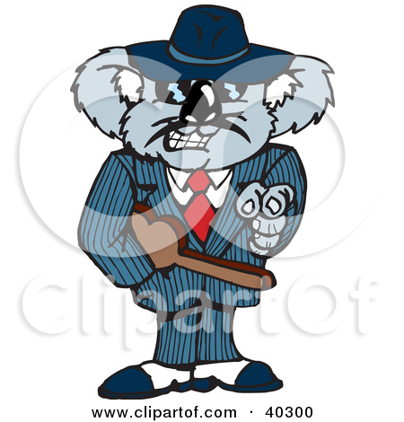 Clipart Illustration Of A Mafia Koala Pointing And Carrying A Tommy
