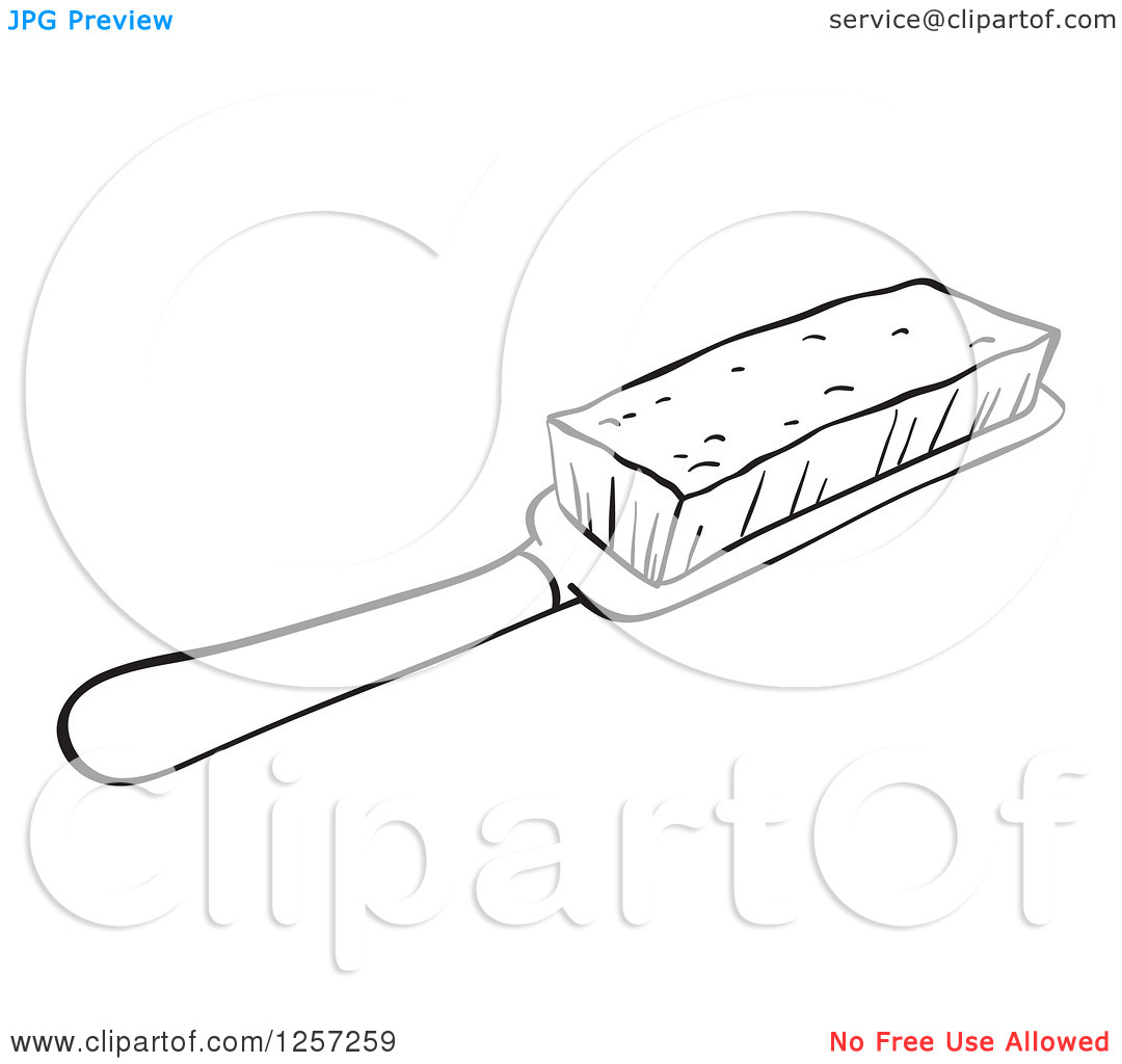 Clipart Of A Black And White Brush   Royalty Free Vector Illustration
