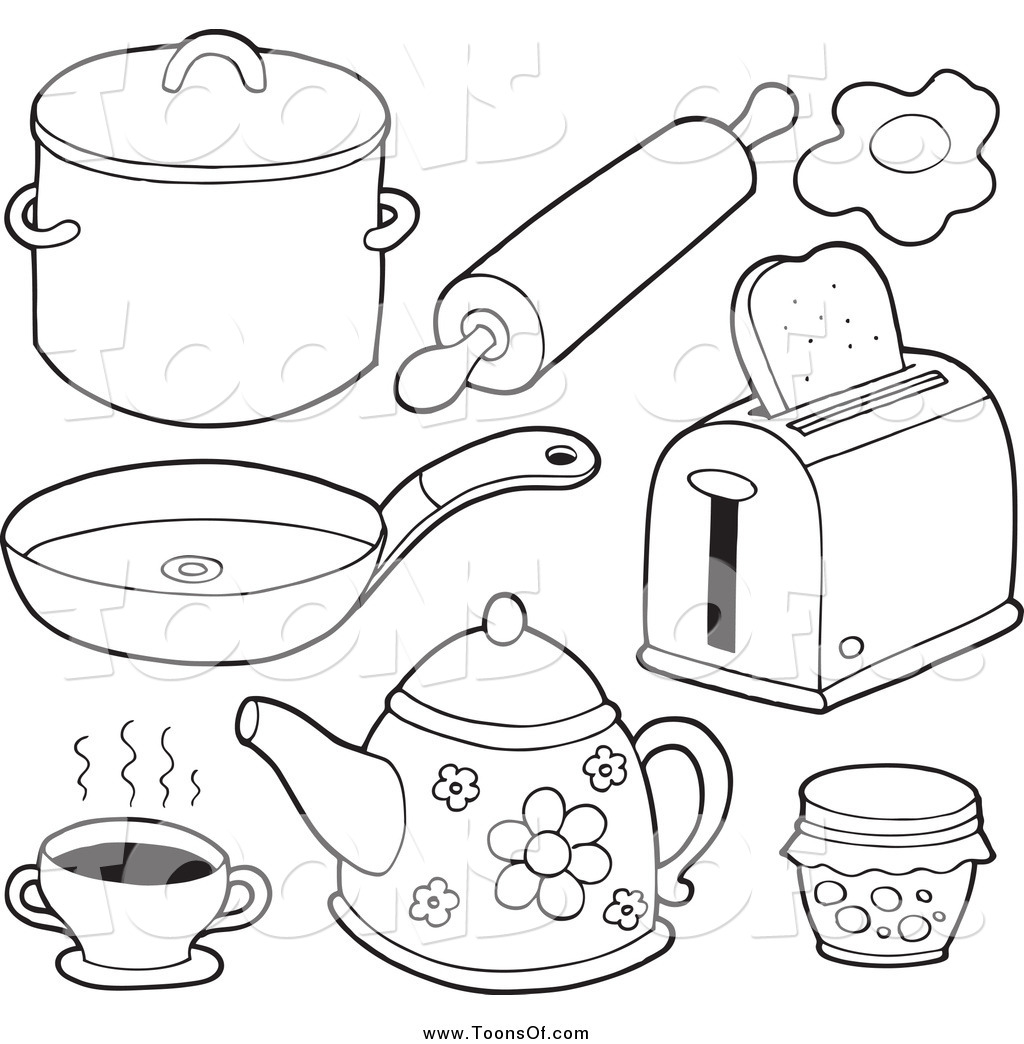 Clipart Of Black And White Kitchen Items By Visekart    27415