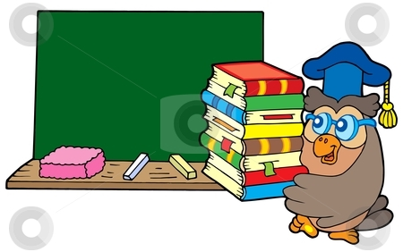 Cutcaster Photo 100361855 Owl Teacher With Books And Blackboard Jpg