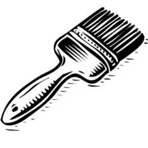 Description  Free Black And White Clipart Picture Of A Paint Brush