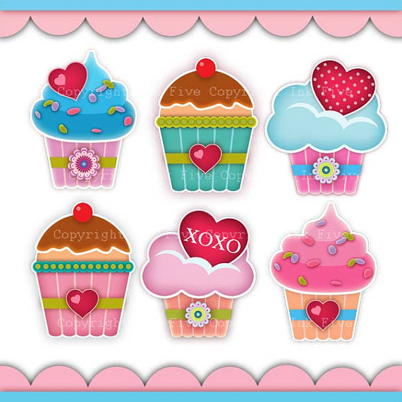 Digital Clip Art Cupcakes With Love  Cute Kitchen Clipart Images For