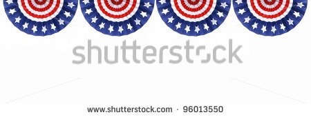 Four Us Flag Buntings Isolated On White Background With Room For Your