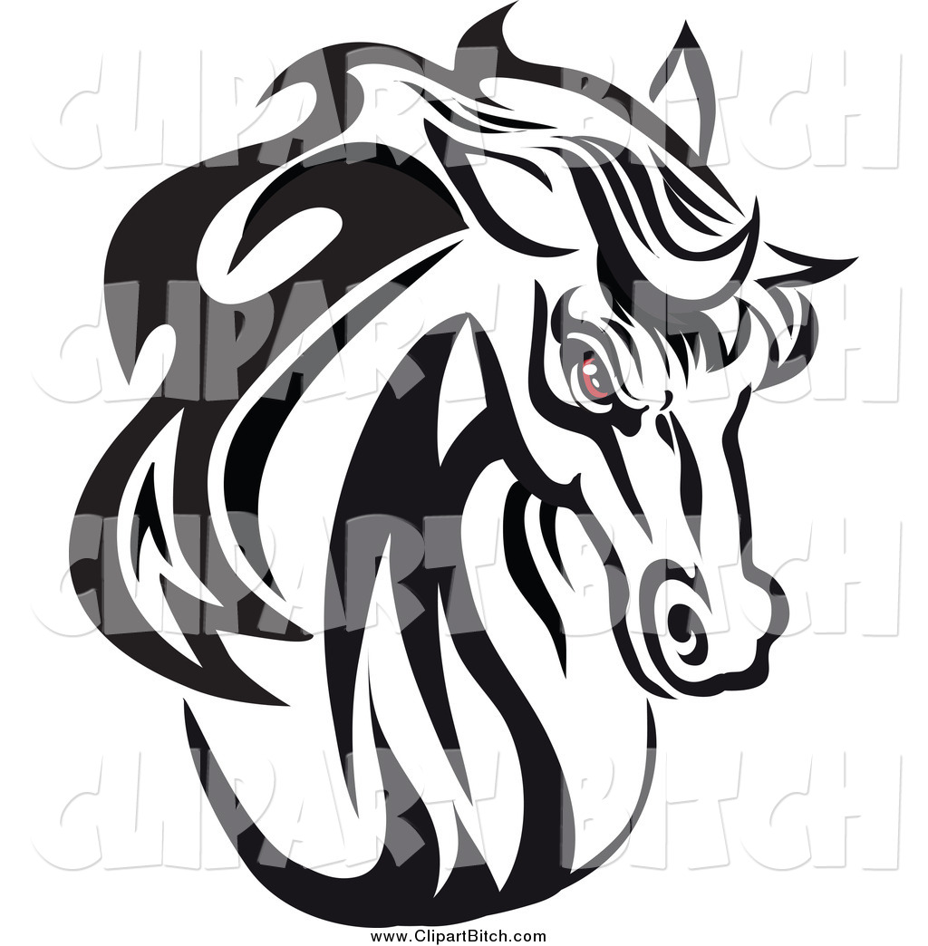 Horse Head Clipart Black And White Clip Vector Art Of A Red Eyed Black