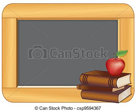 Illustration Of Books Apple Wood Frame Blackboard   Blackboard