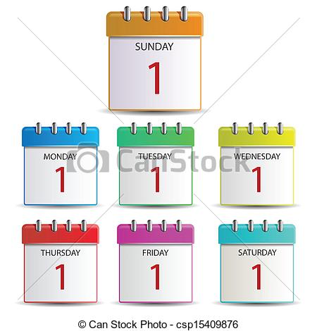 Illustration Of Calendar Days Of The Week Csp15409876   Search Clipart
