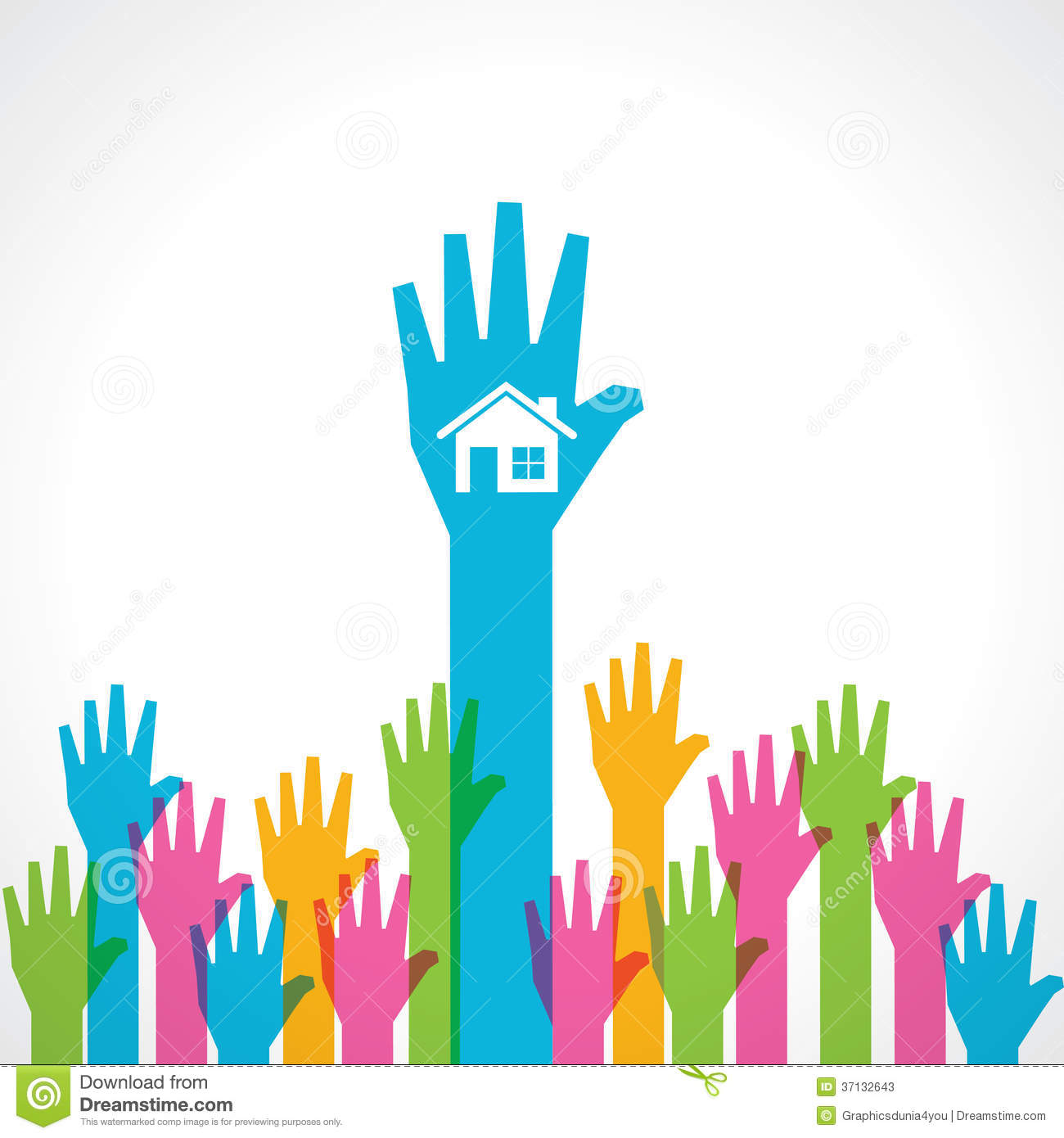 More Similar Stock Images Of   Colorful Helping Hand With Home Icon