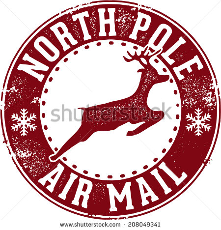 North Pole Air Mail Christmas Santa Stamp Stock Vector Illustration