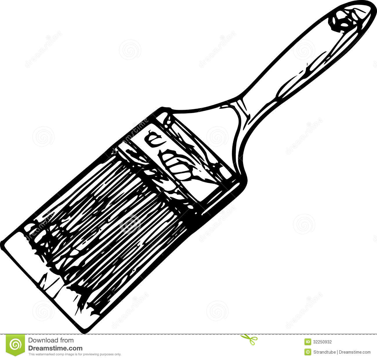 Paintbrush Clipart Black And White Paint Brush Sketch Isolated White