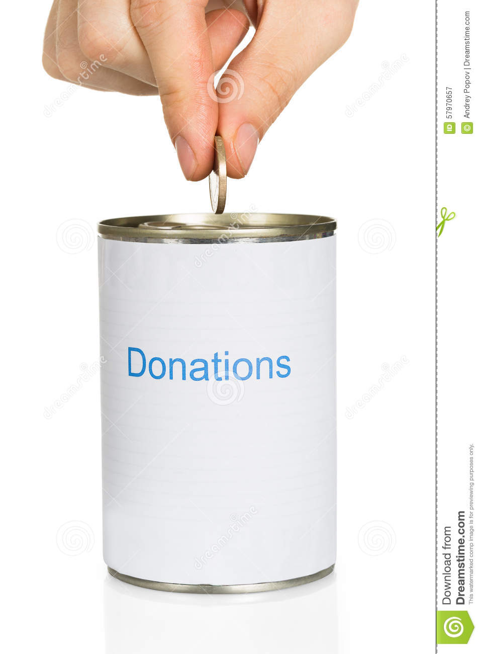 Person S Hand Putting Coin In Donation Can Over White Background