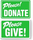 Please Donate And Give Green Sign Set   Royalty Free Clip Art
