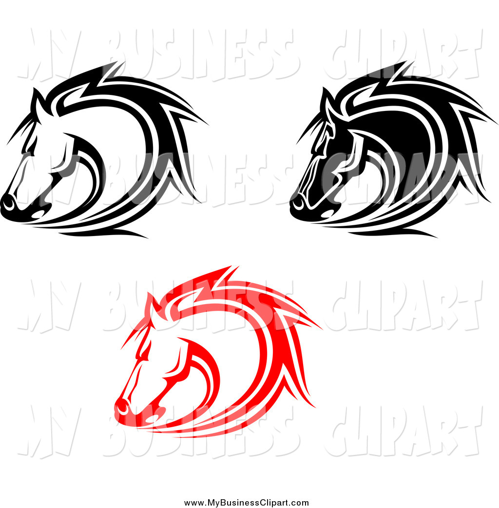 Preview  Vector Clip Art Of Red And Black And White Horse Heads